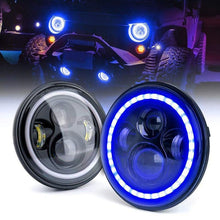 "Load image into Gallery viewer, 7"" inch CREE Blue Led Halo Headlights For 1997-2020 Jeep Wrangler & Gladiator JT"