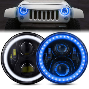 "7"" inch CREE Blue Led Halo Headlights For 1997-2020 Jeep Wrangler & Gladiator JT"