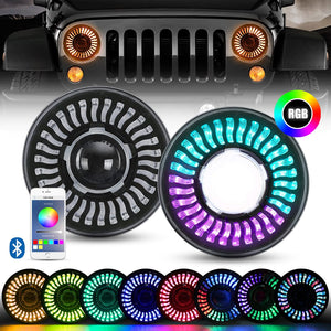 7inch 3D RGB Halo LED Headlights with Amber Turn Signal For 97-18 Jeep Wrangler JK/TJ/LJ