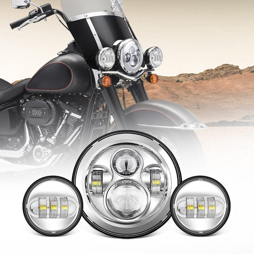 7 inch 60W LED Motorcycle Headlight + 4.5 inch CREE LED Passing Fog Lights