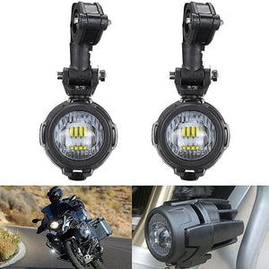 2pcs Motorcycle LED Auxiliary Fog Lights With Protector Guard Covers + Wiring Harness