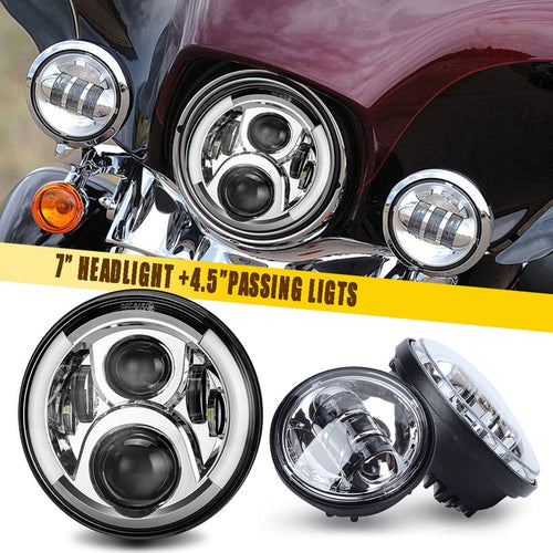 7 inch Chrome LED Motorcycle Headlights with Halo Turn Signal + 4.5 inch LED Passing Fog Lights