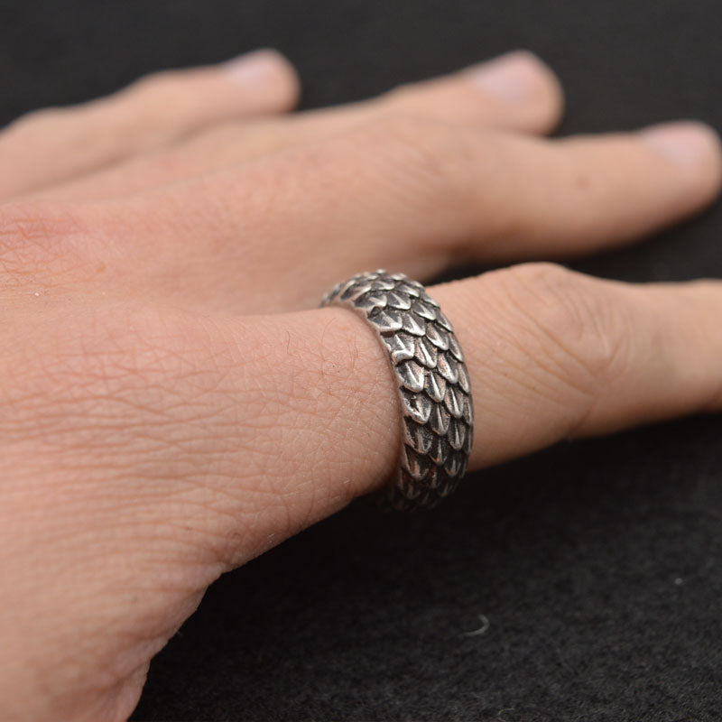 Aged Silver Dragon Scale Banded Ring