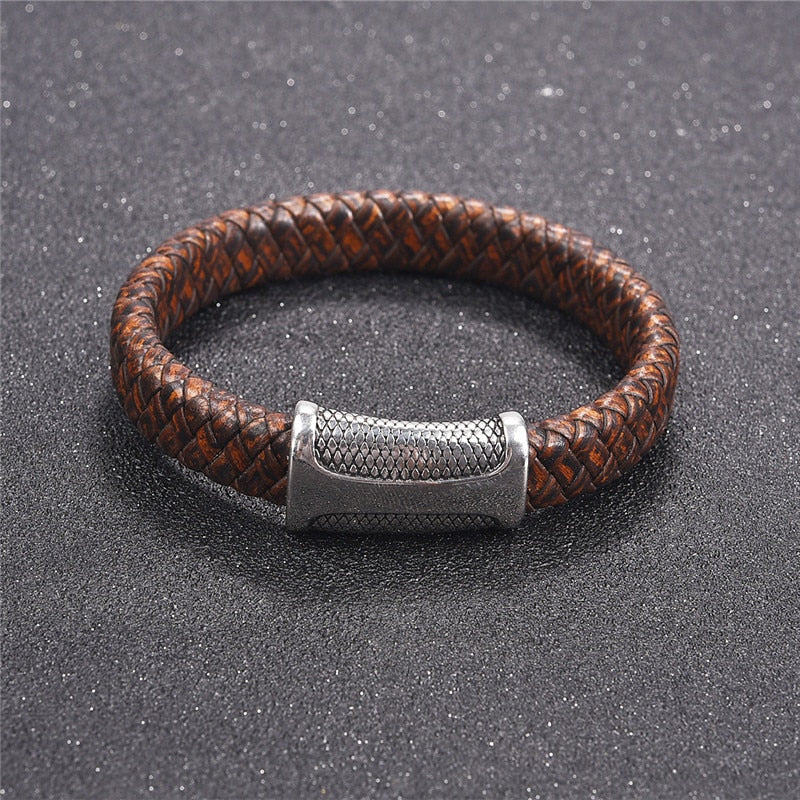 Braided Leather Bracelet With Dragon Scale Clasp
