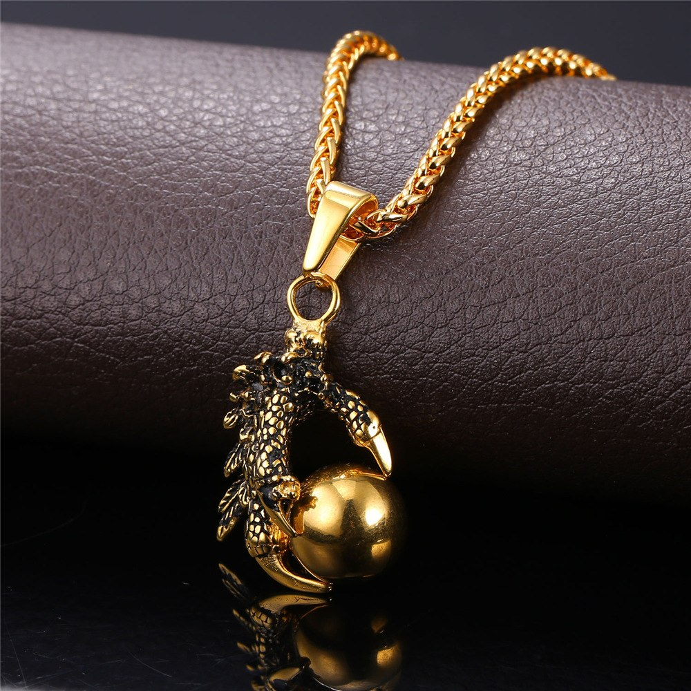 Gold Plated Dragon Claw Orb Necklace