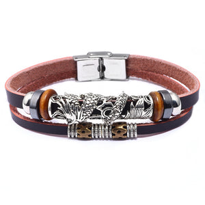 Dragon Vintage Stainless Steel Leather Bracelet