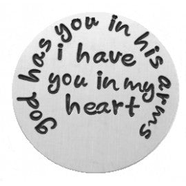 God Has You in His Arms Locket Plate - Stoney Creek Charms