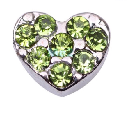 Green Crystal Heart Charm - Stoney Creek Charms