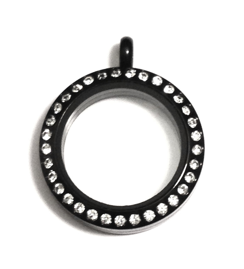 Medium 25mm Black Floating Locket - Stoney Creek Charms