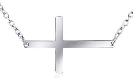 Sideways Cross Sterling Silver Necklace - Stoney Creek Charms