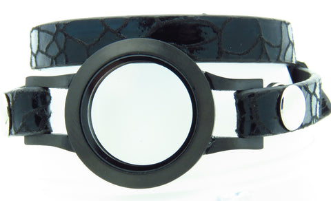 Black Leather Bracelet - Stoney Creek Charms - 1
