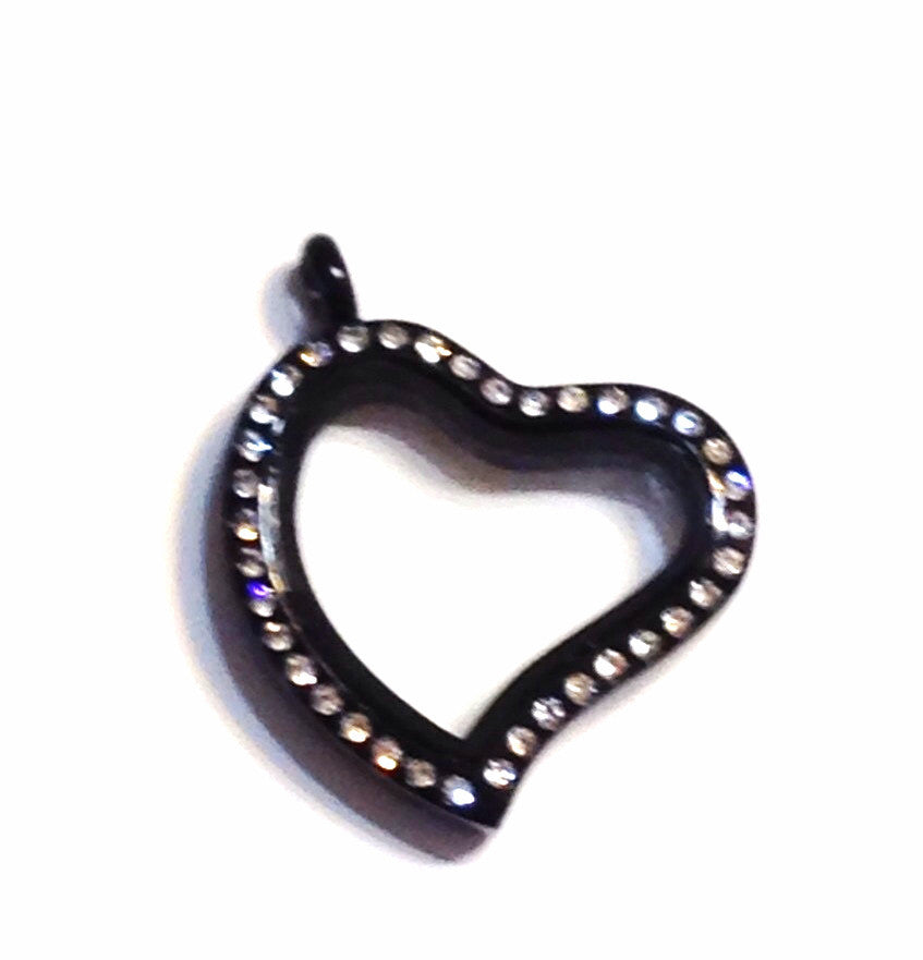 Black Heart Floating Locket