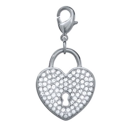 Crystal heart dangle for floating lockets