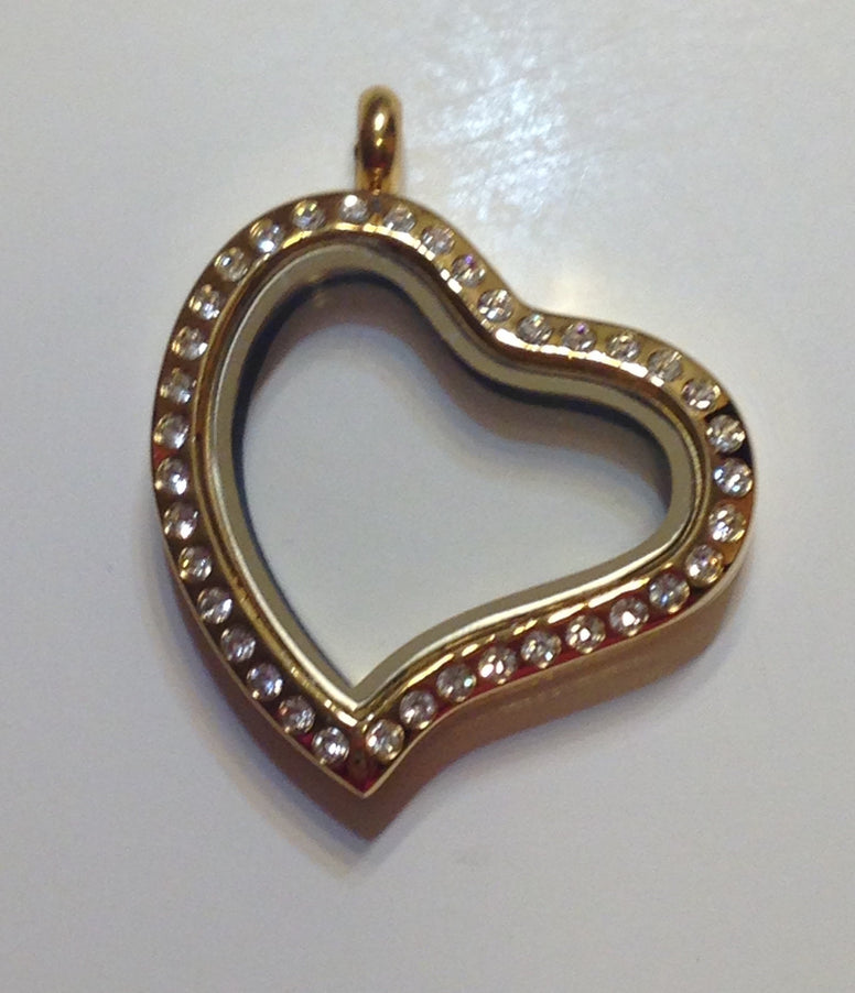 Gold Slant Heart Floating Locket - Stoney Creek Charms