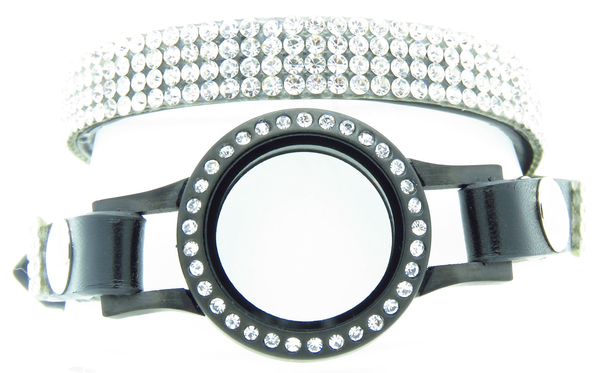Black Leather Bracelet with Crystals