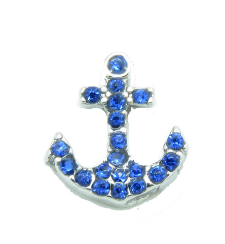 Blue Crystal Anchor Charm - Stoney Creek Charms