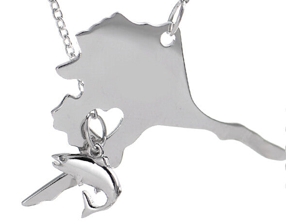 Alaska Necklace with Salmon - Stoney Creek Charms