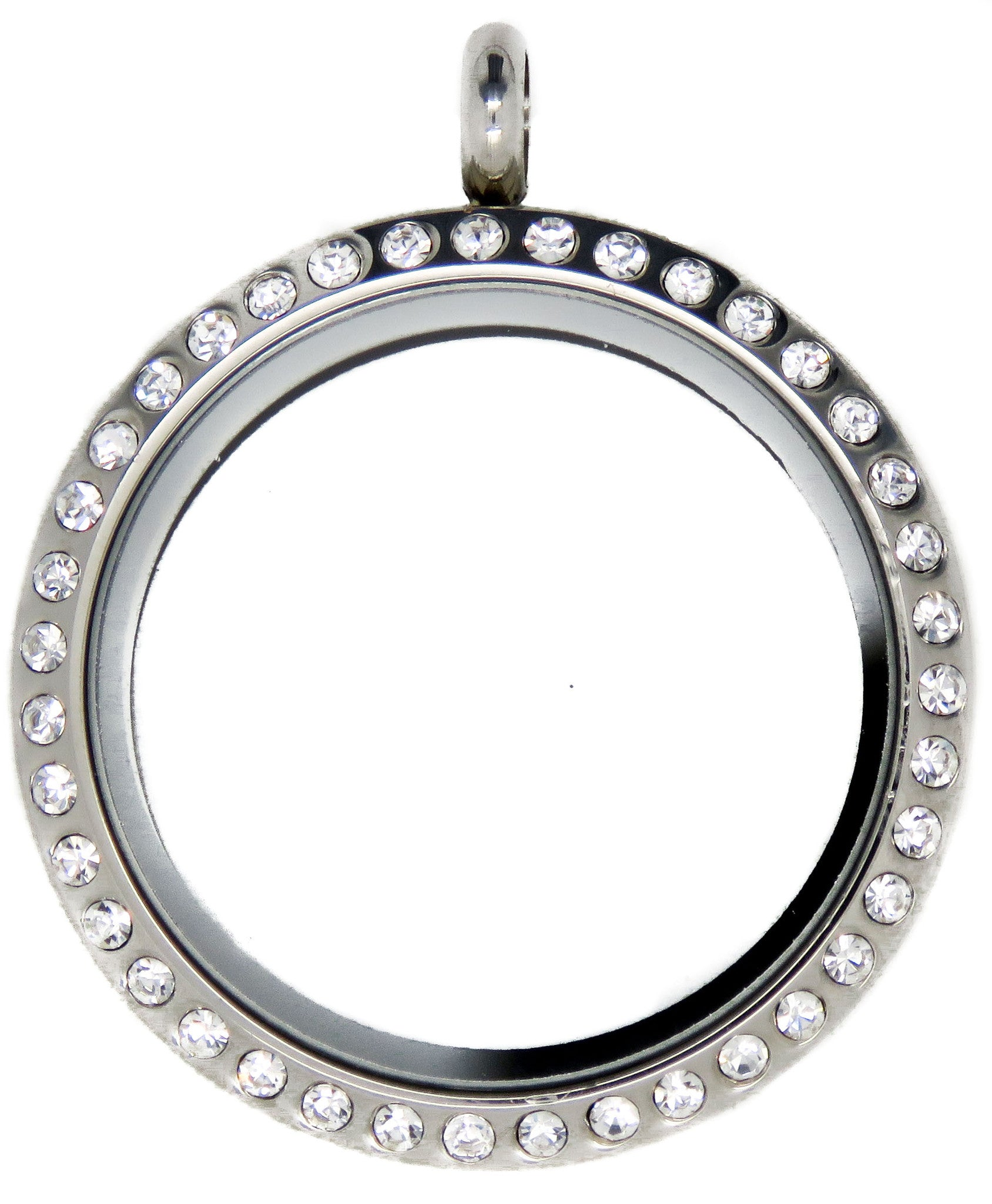 Large Silver Crystal 30mm Floating Locket