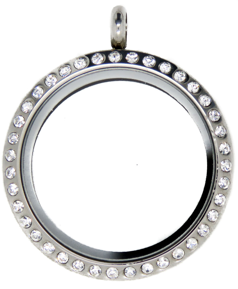 Large Silver Crystal 30mm Floating Locket - Stoney Creek Charms