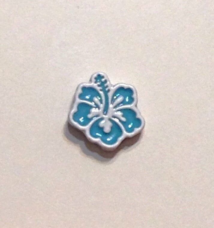 Blue Hibiscus. Floating Charm - Stoney Creek Charms