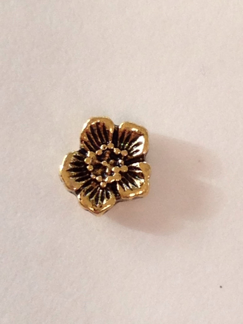 Gold Flower Floating Charm - Stoney Creek Charms