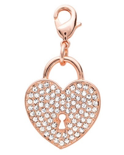 Crystal Rose Gold Heart Dangle