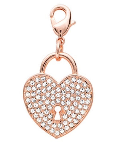 Crystal Rose Gold Heart Dangle - Stoney Creek Charms