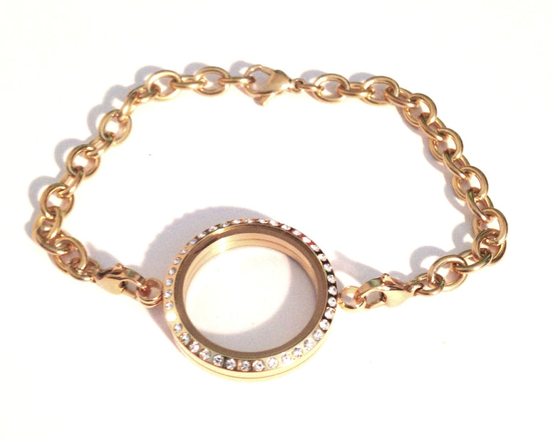 Gold locket bracelet - Stoney Creek Charms