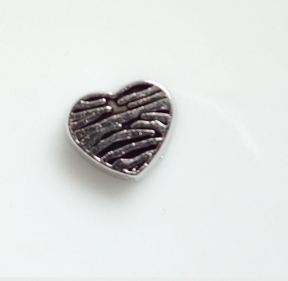 Zebra heart floating locket charm - Stoney Creek Charms - 1