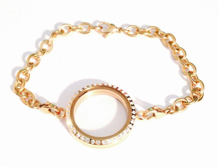 Gold Medium Floating Locket Bracelet