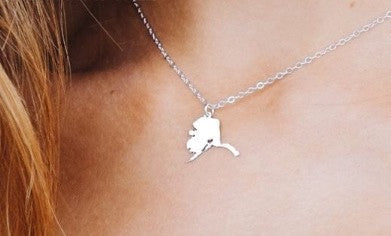 Dainty Alaska Map Necklace