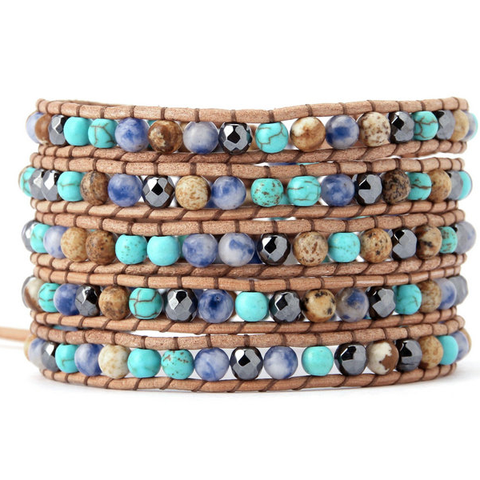 Mixed Stone Wrap Bracelet in Blue - Stoney Creek Charms