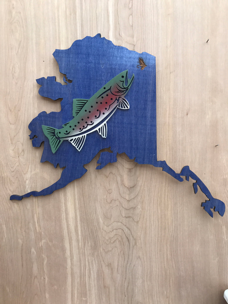 Alaska map with trout sign