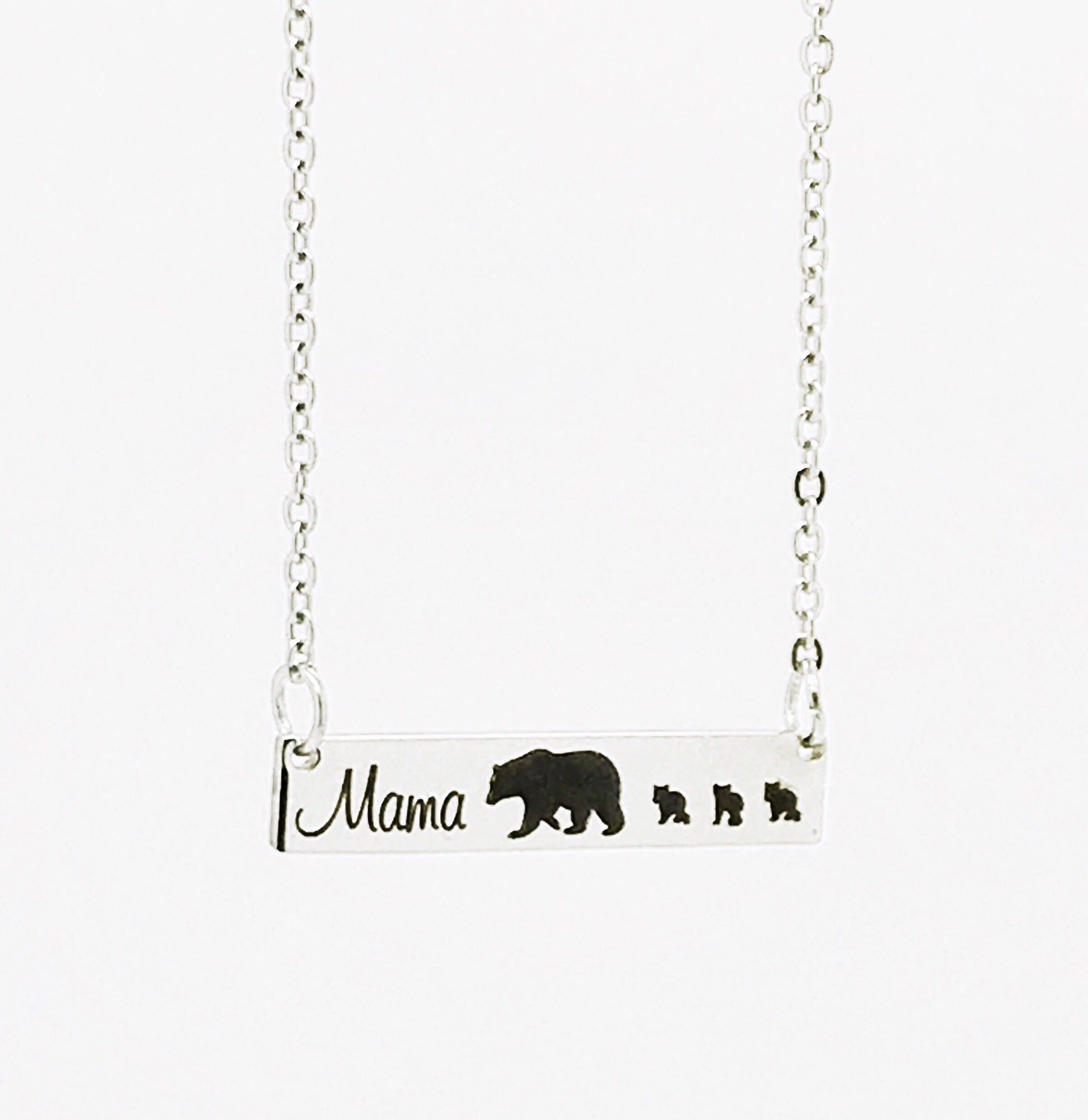 silver mama necklace bear