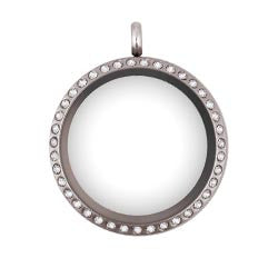 Medium 25mm Silver Crystal Floating Locket - Stoney Creek Charms
