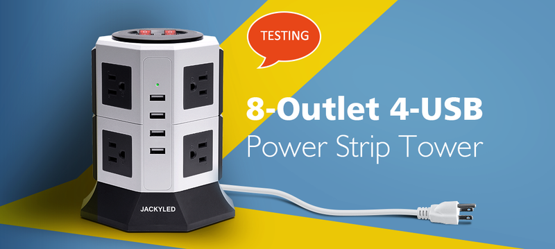 Test for Free – 8-Outlet 4-USB Power Strip Tower