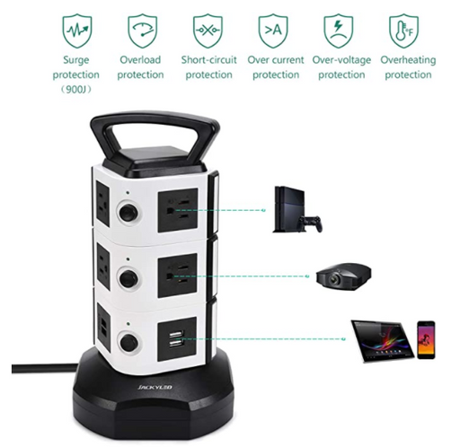 【$9.99 with 1000 points】JACKYLED Power Strip Tower Surge Protector 3000W 13A