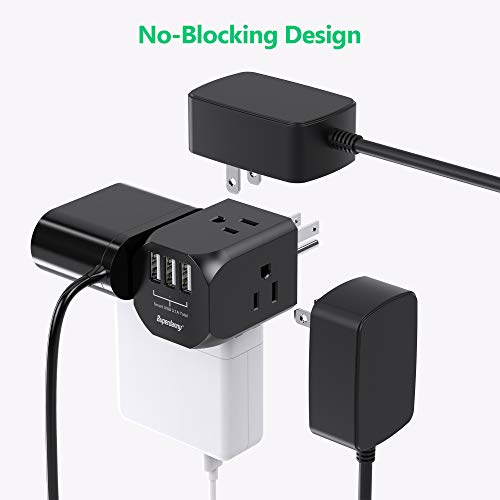Multi-Plug Outlet Extender, SUPERDANNY Power Adapter with 4 Electrical Outlets & 3 USB Ports, Extra-Wide Spaced Cube Charger, Cruise Ship Approved Wall Plug Splitter for Home Office Dorm Hotel, Black