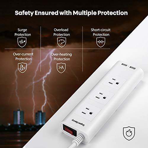 SUPERDANNY Surge Protector Power Strip 3 AC Outlets 2 USB Ports , White