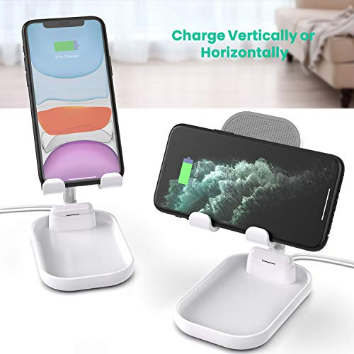 SUPERDANNY Phone Stand with Wireless Charger , White