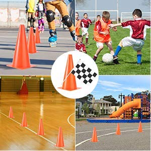 11 Inch Plastic Traffic Cones with Chequered Flags , 10 Pack Thick Soccer Training Cones PACEARTH