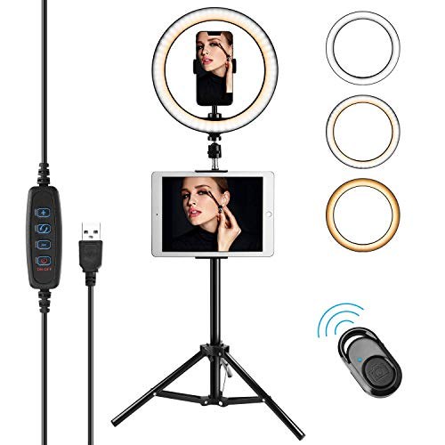 Compatible for iPad 10'' Selfie Ring Light with Tripod Stand & Phone Holder for Makeup Live Stream Makeup Dimmable LED Camera Ring Light with Remote Shutter for YouTube Video JACKYLED