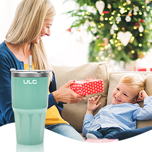 ULG 30oz Tumbler  Stainless Steel Travel Coffee Mug with Leakproof Lids, Straw, Pipe Brush (Green)