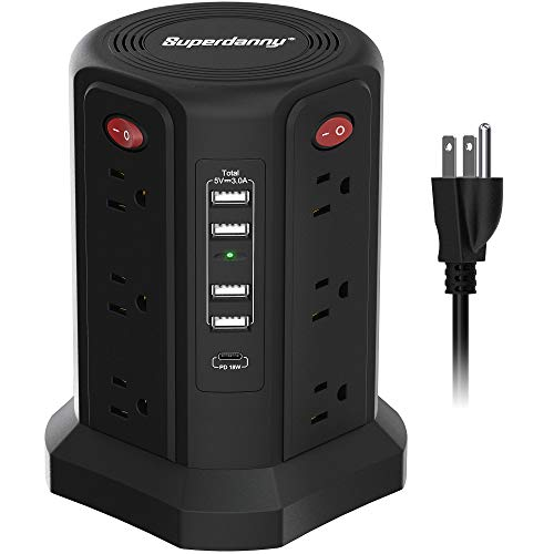 USB C Power Strip Surge Protector Tower, SUPERDANNY Vertical Desktop Charging Station