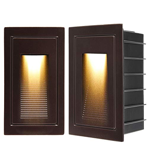 SUPERDANNY 120V LED Indoor Outdoor Step Light, 2-Pack IP65 Waterproof 3000K Warm White 3W Stair Light Fixture