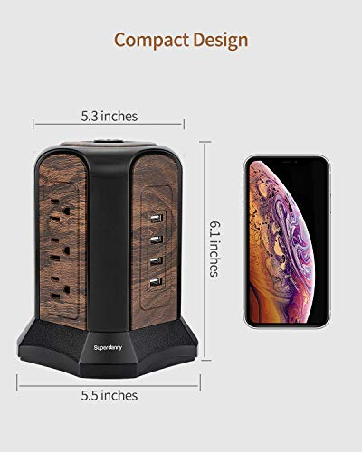 SUPERDANNY Surge Protector Tower with 9 AC Outlets 4 USB Slot, Deep Wood Grain