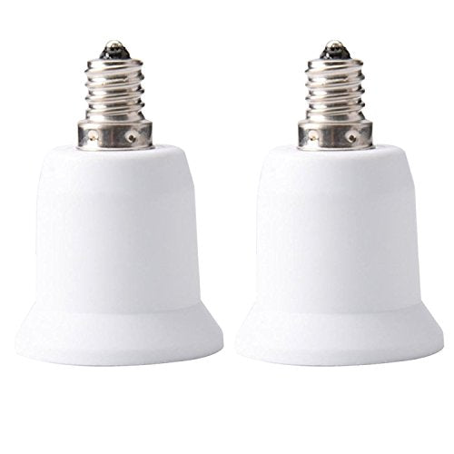 JACKYLED 2-Pack E12 to E26 E27 Adapter Chandelier Light Socket