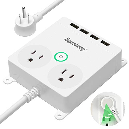 Power Strip with USB - SUPERDANNY Wall Mountable Flat Plug Outlet Extender with 6ft Extension Cord, White