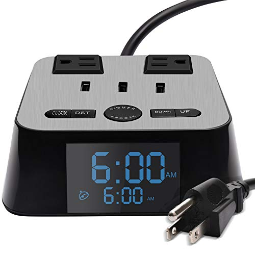 SUPERDANNY Surge Protector Power Strip with Alarm Clock Charger