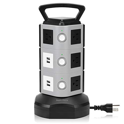 Surge Protector Power Strip Tower - SUPERDANNY 3000W 13A with 4.2A 4 USB Slot 10 Outlets 16AWG 6.5ft Heavy Duty Cord Wire Extension Electric Charging Station Universal Socket for iPhone iPad PC Laptop